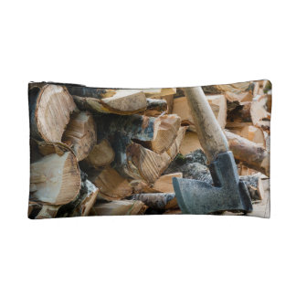 Old axe and firewood cosmetic bag