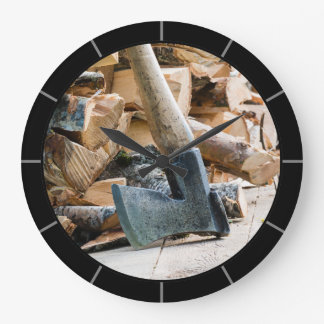 Old axe and firewood large clock