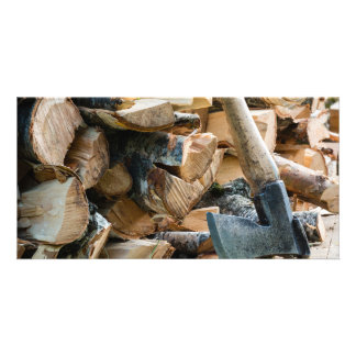 Old axe and firewood photo card