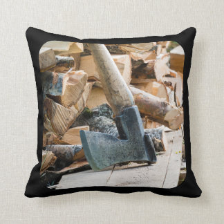 Old axe and firewood pillow