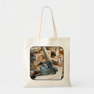 Old axe and firewood tote bag
