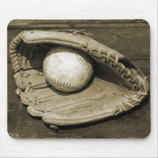 Old Baeball Mit and Ball Mouse Pad