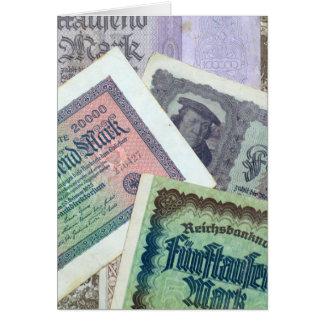Old banknodes greeting card