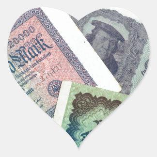 Old banknodes heart sticker