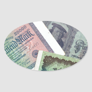 Old banknodes oval sticker