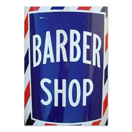 old barber shop sign card