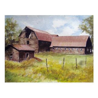 Old Barn and Farmhouse- postcard