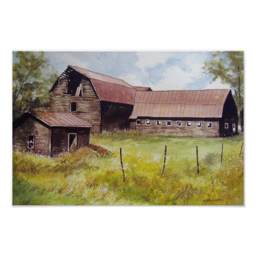 Old Barn and Farmhouse- poster