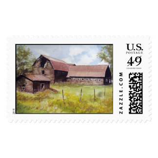 Old Barn and Farmhouse- stamps