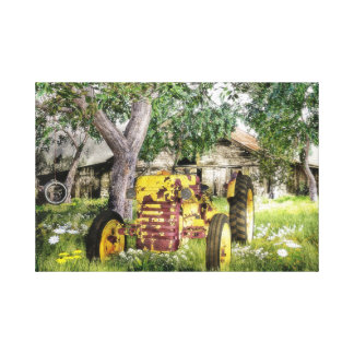 Old Barn And Tractor Canvas Print
