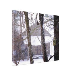 Old Barn and Trees in the Snow Winter Photo Canvas Print