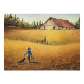 OLD BARN, APALOOSA, BOY & DOG by SHARON SHARPE Poster