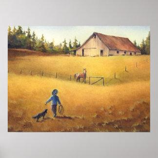 OLD BARN, APALOOSA, BOY & DOG by SHARON SHARPE Print