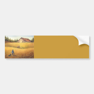 OLD BARN, APPALOOSA, BOY & DOG by SHARON SHARPE Bumper Sticker