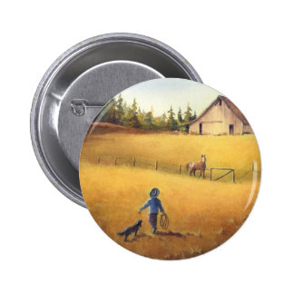 OLD BARN, APPALOOSA, BOY & DOG by SHARON SHARPE Button