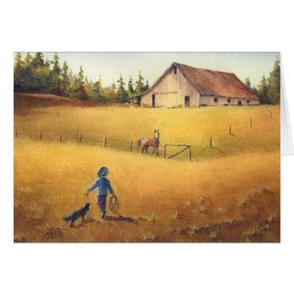 OLD BARN, APPALOOSA BOY & DOG by SHARON SHARPE Greeting Card
