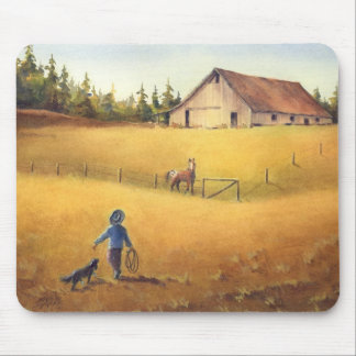 OLD BARN, APPALOOSA BOY & DOG by SHARON SHARPE Mouse Pad