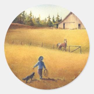 OLD BARN, APPALOOSA BOY & DOG by SHARON SHARPE Sticker