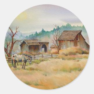 OLD BARN & APPALOOSA by SHARON SHARPE Classic Round Sticker