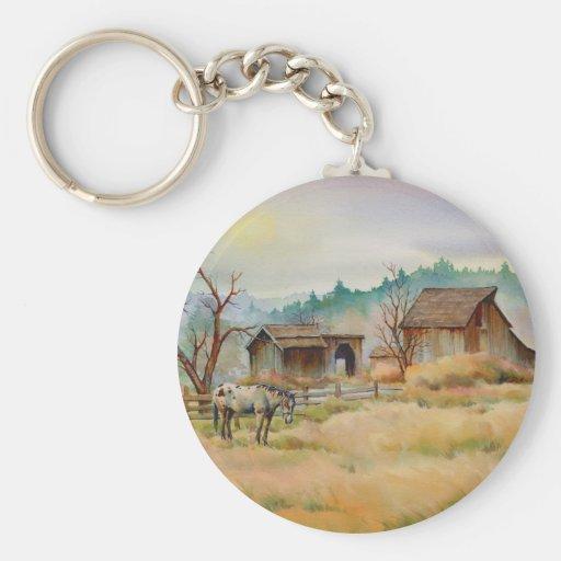 OLD BARN & APPALOOSA by SHARON SHARPE Basic Round Button Keychain