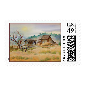 OLD BARN & APPALOOSA  by SHARON SHARPE Postage