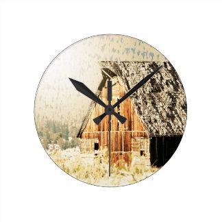 Old Barn Round Wall Clock