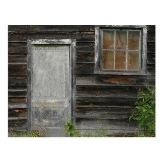 old barn door and window postcard