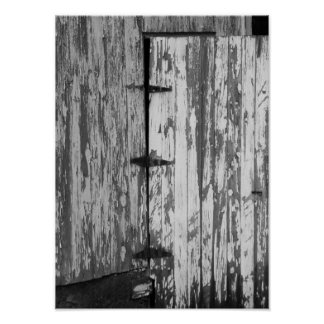 Old Barn Door Black And White Photography Poster