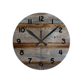 Old Barn Door Wood Round Clocks