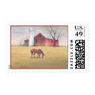 OLD BARN, HORSE & SILO by SHARON SHARPE Stamp