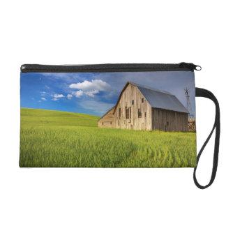Old Barn in Field of Spring Wheat Wristlet Purse