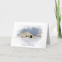 Old barn in snowflake for Christmas holidays Card