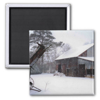 Old Barn in the Snow Rural Winter Photo Magnet
