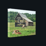 """Old Barn Mail Pouch Tobacco Advertising Car Truck Canvas Print<br><div class=""""desc"""">This old barn sits in Berks County,  PA,  and the vintage vehicles keep it company.</div>"""