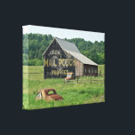 "Old Barn Mail Pouch Tobacco Advertising Car Truck Canvas Print<br><div class=""desc"">This old barn sits in Berks County,  PA,  and the vintage vehicles keep it company.</div>"