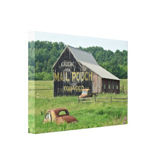 Old Barn Mail Pouch Tobacco Advertising Car Truck Canvas Print