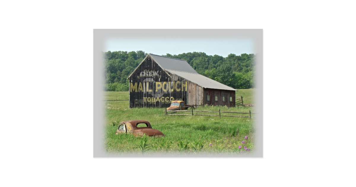 Old barn mail pouch tobacco advertising postcard zazzle for Tobacco barn house plans