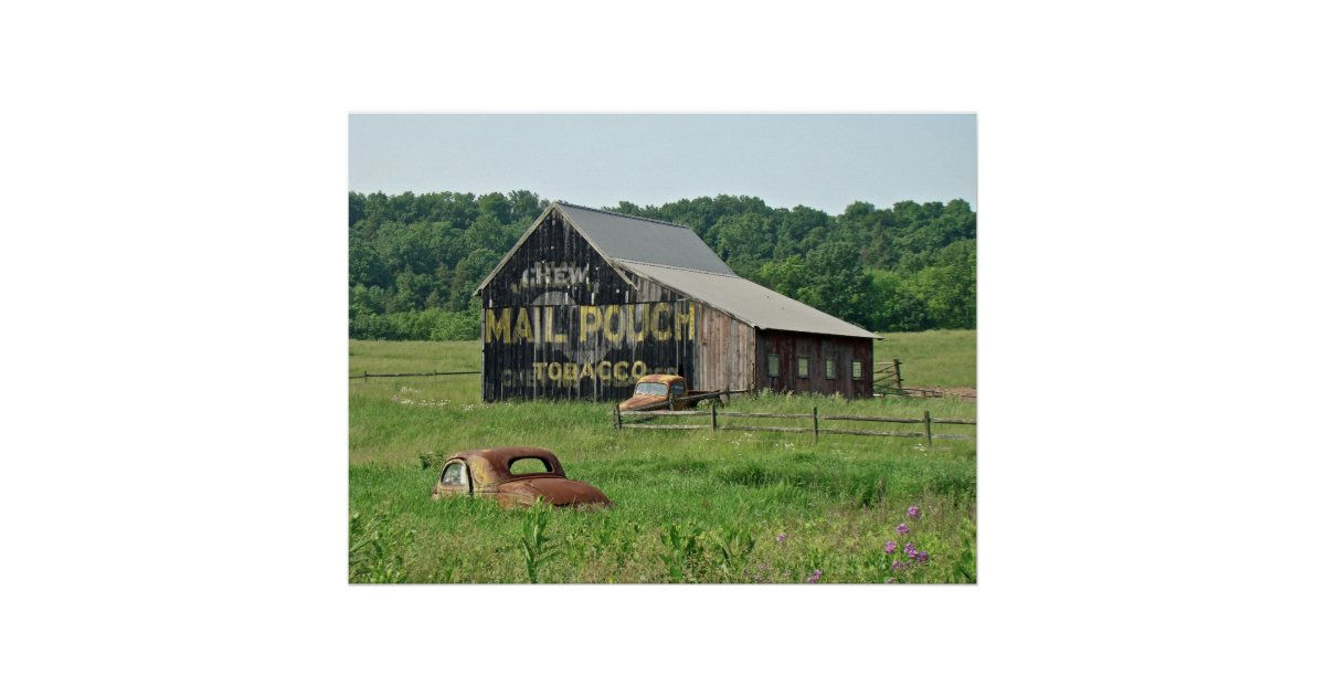 Old barn mail pouch tobacco advertising poster zazzle for Tobacco barn house plans
