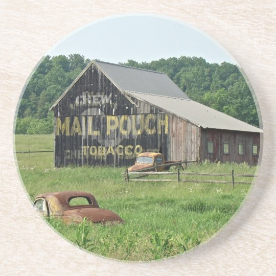 Old Barn Mail Pouch Tobacco Advertising Sandstone Coaster