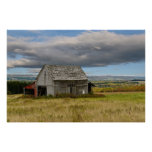 Old Barn on a Country Hillside Print