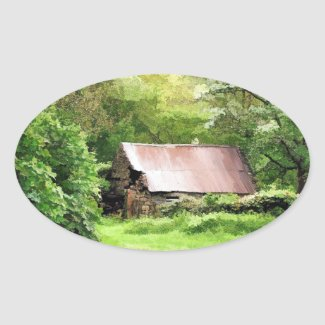 OLD BARN OVAL STICKERS