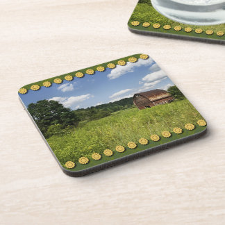 Old Barn, Sunny Day, Yellow Flowers Coasters