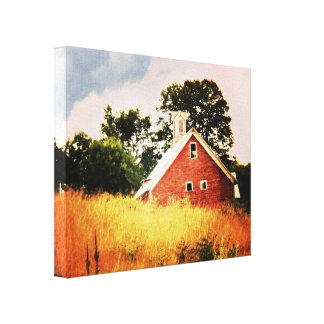 Old Barn Sunset Gallery Wrapped Canvas