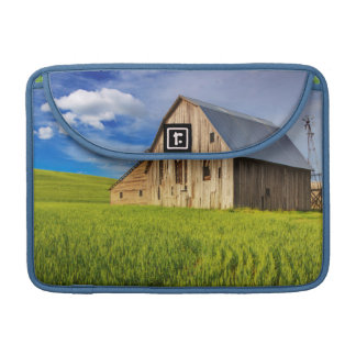 Old Barn Surrounded by Spring Wheat Field 1 Sleeve For MacBooks