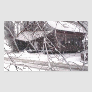Old Barn through the Branches Winter Snow Photo Rectangular Sticker