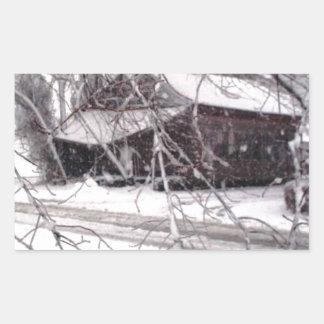 Old Barn through the Branches Winter Snow Photo Rectangular Sticker