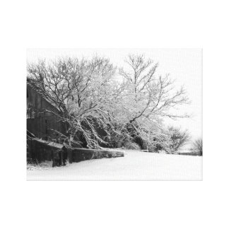 Old Barn Weathers Ice Storm Canvas Print