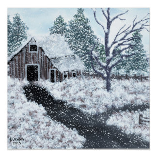 Old barn winter scene snow falling  poster
