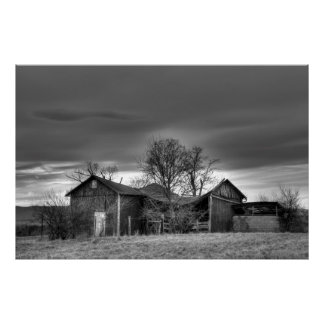 Old Barn Winter Trees Black and White HDR Poster
