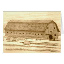 Old Barn with Rolled Hay Card